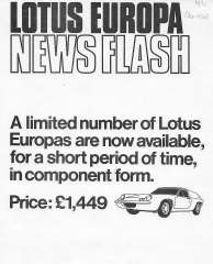 Lotus Europa News Flash ad