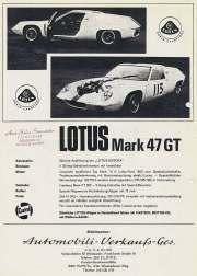 Lotus Mark 47GT ad